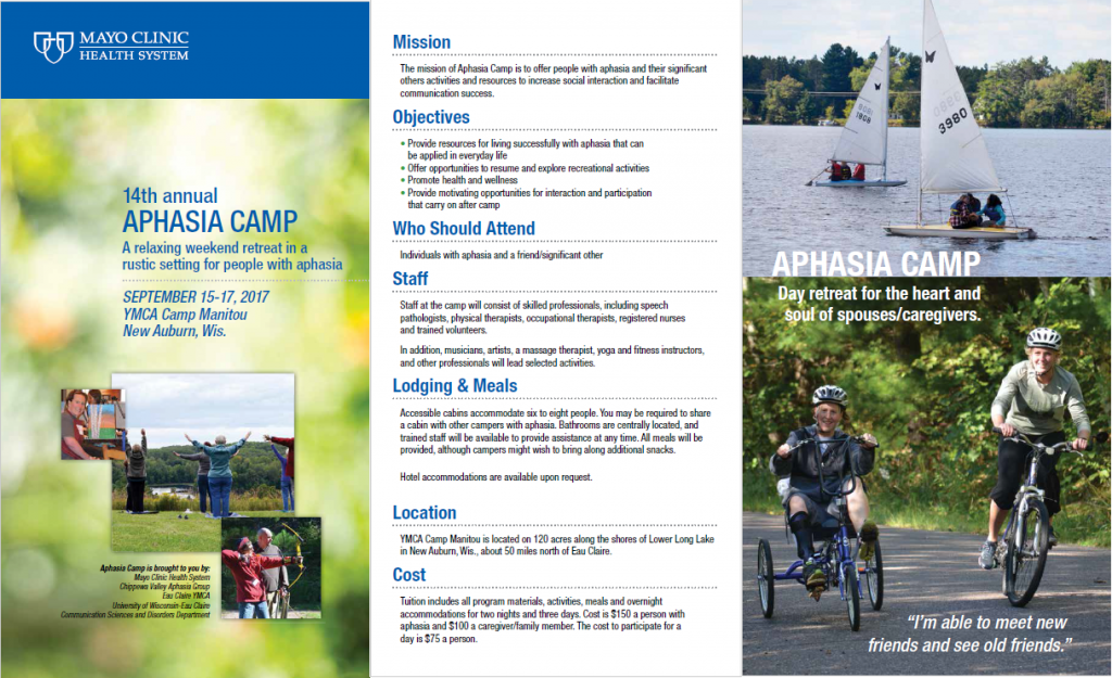 Aphasia Camp 2017 brochure pic 1
